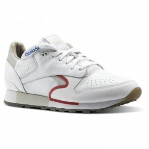 Reebok Classic Leather URGE Unisex Retro Running Shoes in White / Cool Grey / Red / Blue