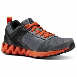 Reebok Zig Kick 2K18 Grade School Kids Running Shoes in Alloy / Black / Bright Lava