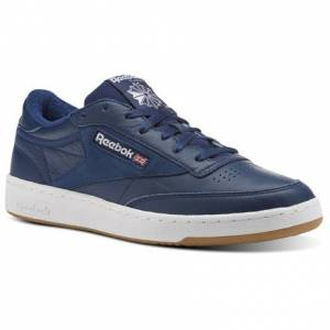 Reebok Club C 85 ESTL Leather Men's Court Shoes in Washed Blue / White-Gum