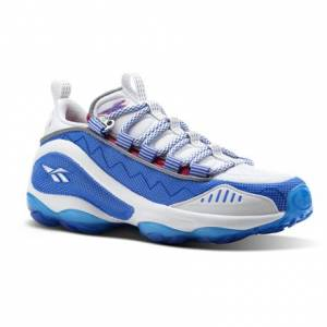 Reebok DMX RUN 10, Women's Retro Running Shoes in Vital Blue / Pink Fusion / White