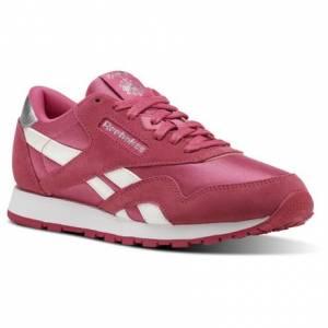 Reebok Classic Nylon - Grade School Kids Retro Running Shoes in Dark Pink / White