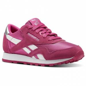 Reebok Classic Nylon - Pre-School Kids Retro Running Shoes in Dark Pink / White
