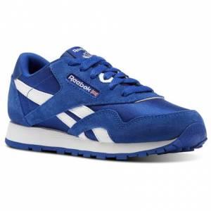 Reebok Classic Nylon - Pre-School Kids Retro Running Shoes in Royal Blue / White