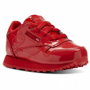 Reebok Classic Leather Patent Kids Retro Running Shoes in Primal Red