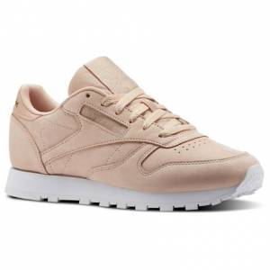 Reebok Classic Leather NBK Women's Retro Running Shoes in Rose Cloud / White