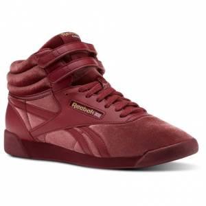 Reebok Freestyle Hi Velvet Sneaker - Grade School Kids Fitness Shoes in Urban Maroon / Gold
