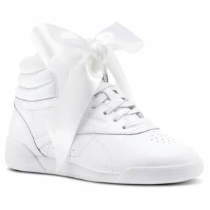 Reebok Freestyle HI Satin Bow Kids Fitness Shoes in White / Skull Grey
