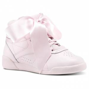 Reebok Freestyle HI Satin Bow Kids Fitness Shoes in Porcelain Pink / Skull Grey