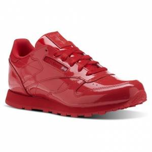Reebok Classic Leather Patent - Grade School Kids Retro Running Shoes in Red