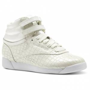 Reebok Freestyle HI Crackle Women's Fitness Shoes in Chalk / White