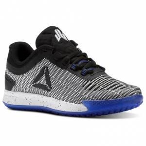 Reebok JJ II Low - Grade School Kids Training Shoes in White / Black / Acid Blue