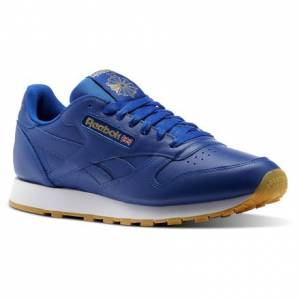Reebok Classic Leather Gum Men's Retro Running Shoes in Collegiate Royal / Gold Met / White-Gum