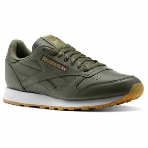 Reebok Classic Leather Gum Men's Retro Running Shoes in Hunter Green / Gold Met / White-Gum