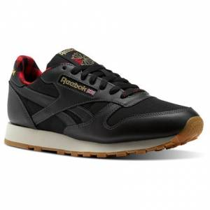 Reebok CL LEATHER LJ Men's Retro Running Shoes in Black / Primal Red / Gold / Paper white / Alloy