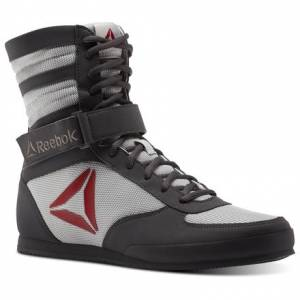 Reebok Combat Men's Boxing Boots - Buck in Ash Grey / Skull Grey / Excellent Red / White