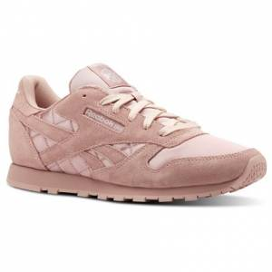 Reebok Classic Leather Satin Kids Retro Running Shoes in Chalk Pink