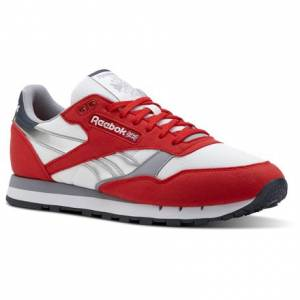 Reebok Classic Leather Men's Retro Running, Lifestyle Shoes in Primal Red / White