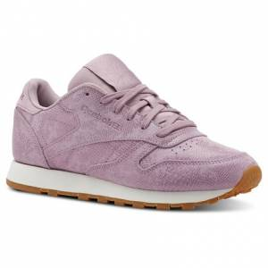 Reebok Classic Leather Women's Retro Running Shoes in Exotics-Infused Lilac