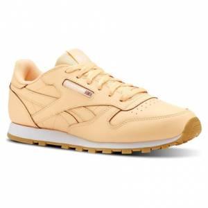 Reebok Classic Leather Gum Unisex Retro Running Shoes in Desert Glow / White-Gum