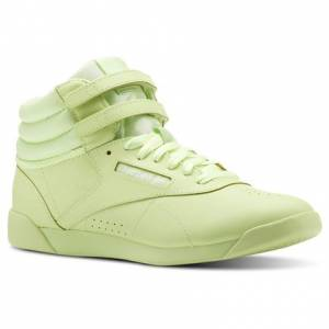 Reebok Freestyle Hi Colors Kids Fitness Shoes in Lime Glow / White