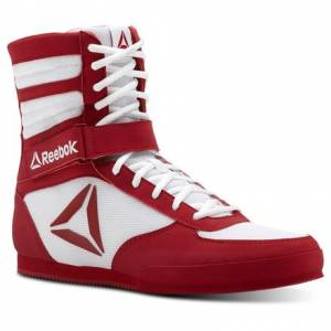 Reebok Men's Boxing Combat Boots in White / Excellent Red