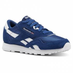 Reebok Classic Nylon - Pre-School Retro Running, Lifestyle Shoes in Bunker Blue