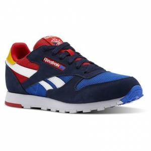 Reebok Classic Leather Color Block Kids Retro Running Shoes in Coll Navy / Vital Blue / Primal Red