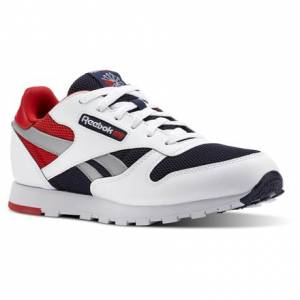 Reebok Classic Leather Color Block Kids Retro Running Shoes in White / Collegiate Navy / Primal Red