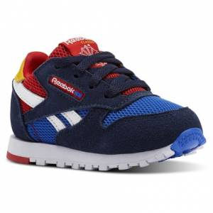 Reebok Classic Leather Color Block Toddler Retro Running Shoes in Navy / Vital Blue / Primal Red