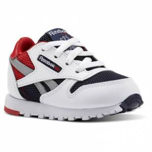 Reebok Classic Leather Color Block Toddler Retro Running Shoes in White / Collegiate Navy / Primal Red