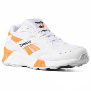 Reebok Aztrek Unisex Retro Running Shoes in White / Solar Orange.