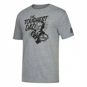Reebok UFC Fan Father's Day Graphic Tee Men's MMA T-Shirt in Dark Grey Heathered