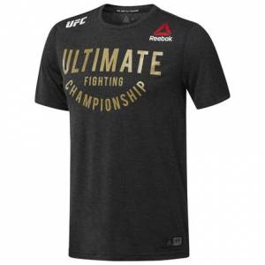 Reebok UFC Fight Night Walkout Jersey Men's MMA T-Shirt in Black / Gold