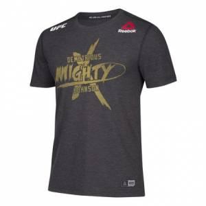 Reebok UFC Jersey Legacy Series UFC 215 Demetrious Johnson Men's MMA T-Shirt in Black / Gravel