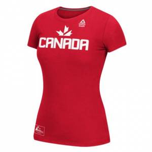 Reebok Her Team Canada Invitational Athlete Practice Tee Women's Training T-Shirt in Red