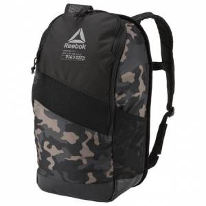 Reebok 24L Unisex Training Graphic Backpack in Black / Grey Camo