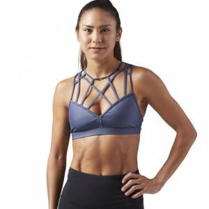 Reebok Metallic Strappy Women's Dance, Studio Sports Bra in Smoky Indigo