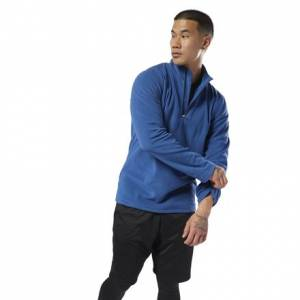 Reebok Men's Outdoor Fleece Quarter-Zip Sweatshirt in Bunker Blue