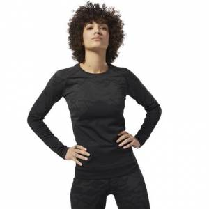 Reebok Women's Training Thermowarm Seamless Long Sleeve Tee in Black