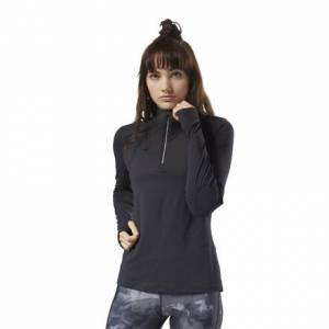 Reebok Women's Running ThermoWarm Touch Quarter-Zip Top in Black