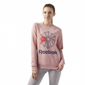 Reebok Starcrest Crewneck Women's Casual Long Sleeve T-Shirt in Chalk Pink