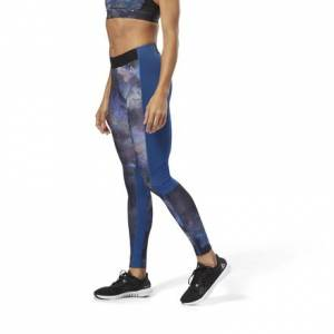 Reebok Women's Training Compression Tights Leggings - Oil Slick in Bunker Blue