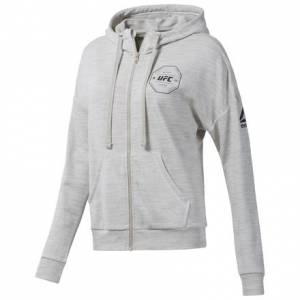 Reebok UFC FG Full-Zip Women's Hoodie in Off White