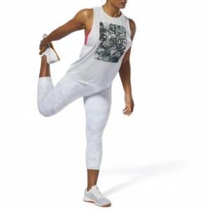 Reebok CrossFit Lux 3/4 Tights Women's Training Leggings - Stone Camo in White