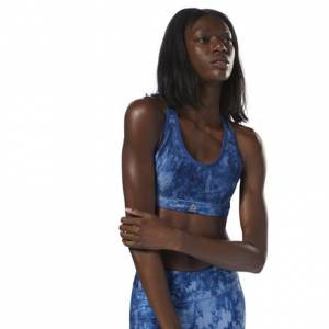 Reebok Women's Running Hero Run Padded Sports Bra in Bunker Blue