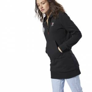 Reebok Classics Women's Casual, Lifestyle Fleece Hooded Dress in Black