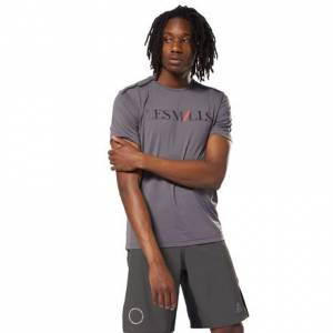 Reebok LES MILLS™ Men's Studio Graphic Tee in Ash Grey