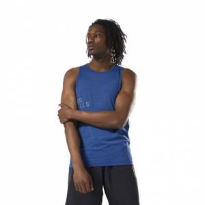 Reebok LES MILLS™ ActivChill Men's Studio Tank Top in Bunker Blue