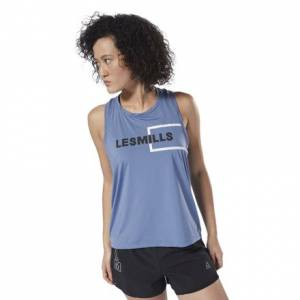 Reebok LES MILLS™ Perforated Women's Studio Tank Top in Blue Slate