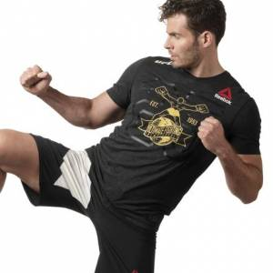 Reebok UFC Fight Night Decorated Men's Jersey Tee in Black / Gold